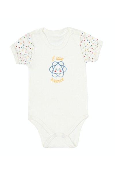 Bebek Kısa Kollu Pamuklu Çıtçıtlı Body I Love Science 0-3 Ay