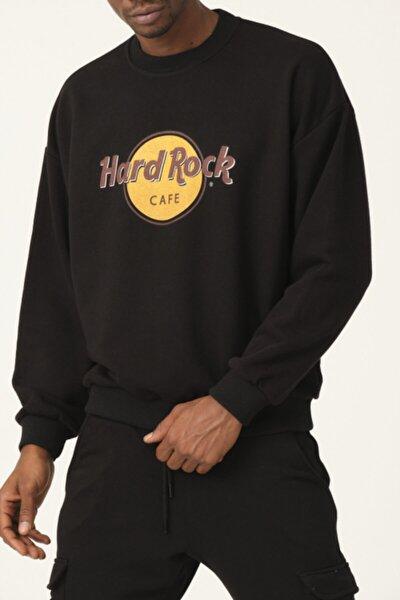 Erkek Sıyah Oversıze Hard Rock Baskılı Sweatshırt