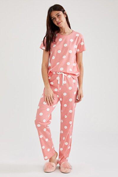 Kadın Pembe Kısa Kollu Relax Fit Pijama Takımı