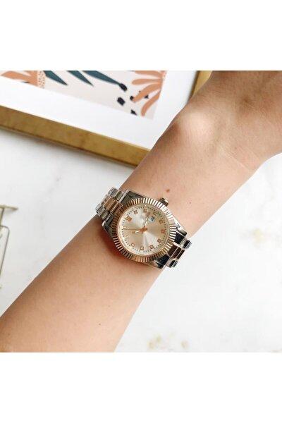 Kasa Detaylı Metal Gümüş Rose Gold Kadın Kol Saati