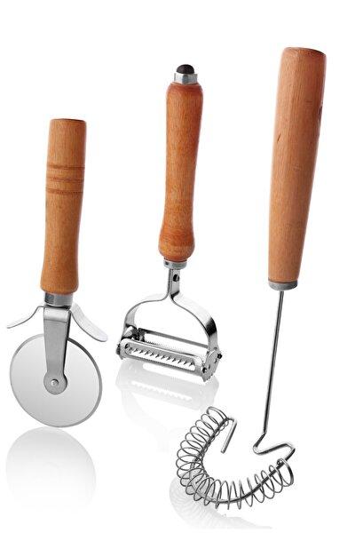 Bambu Mutfak Seti - 3'lü Set (kesici Rulet+çırpıcı+yaylı Çırpıcı) 3'lü