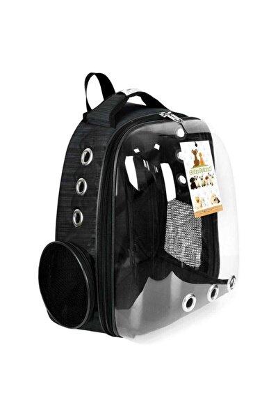 Siyah Astronot Kedi Köpek Taşıma Çantası