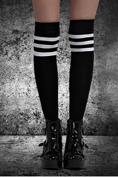 Kadın Siyah 3 Şerit Detaylı Pamuklu Dizüstü Çorap Jartiyer Boy Uzun Çorap