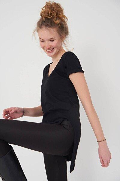 Kadın Siyah V Yaka T-Shirt P0102 - U1 Adx-00007205