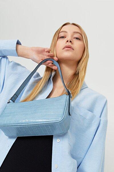 Kadın Mavi Timsah Derisi Görünümlü Mini Çapraz Askılı Çanta 00751099