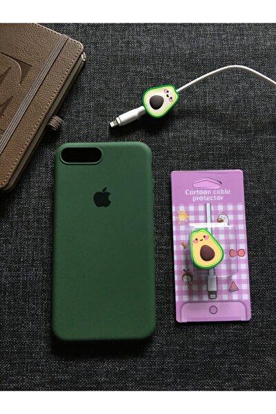 Iphone 7 Plus Ve 8 Plus Uyumlu, Logolu Lansman Kılıf Kablo Koruyucu