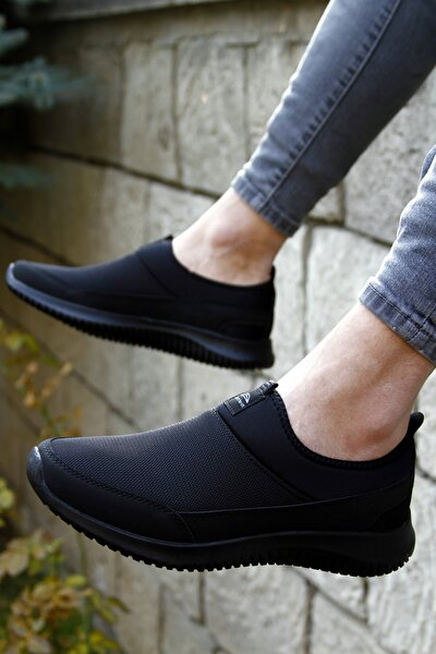 Erkek Siyah Bağcıksız Yürüyüş Spor Ayakkabı