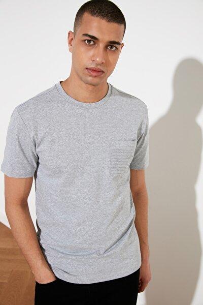 Gri Erkek Slim Fit Bisiklet Yaka T-Shirt TMNSS21TS0443