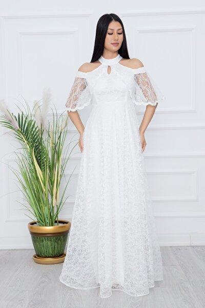 Kadın Ekru Dantel Uzun Abiye Elbise 13328