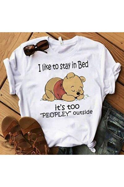 Kadın Beyaz Little Winnie Baskılı T-shirt