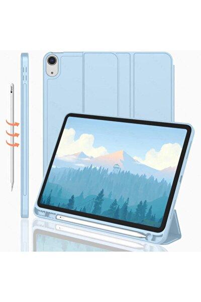 Ipad Pro 12.9 4. Nesil Uyumlu   Kılıf Silikon Kalem Bölmeli Smart Case A2229 A2069 A2232 A2233 Mavi