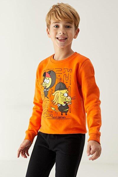 Erkek Çocuk Turuncu Kral Şakir Lisanslı Sweatshirt