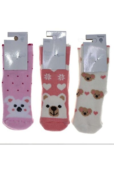 Karatepe Abs Baskı Kız Çocuk Kaydırmaz Taban Havlu Çorap - Karışık Renk 4'lü