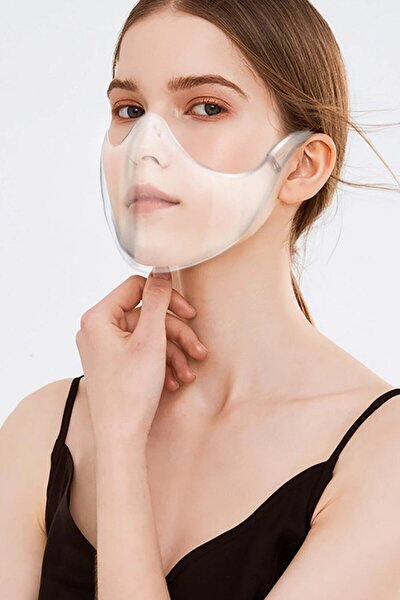 3 Adet Şeffaf Maske Profesyonel Ağız Ve Burun Covid-19 Engelleyici Yıkanabilir Katlanabilir Kutulu