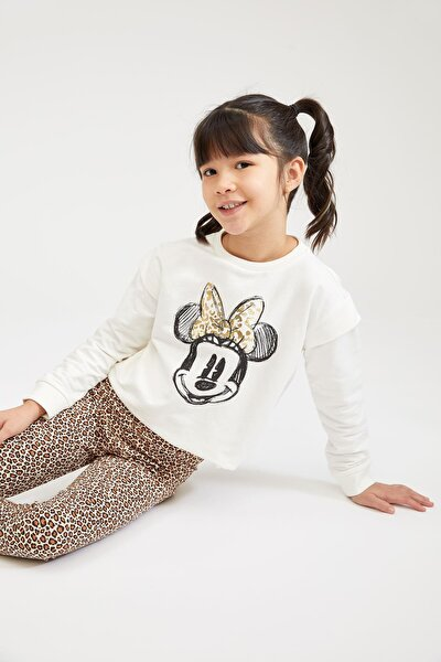 Kız Çocuk Ekru Minnie Mouse Lisanslı Sweatshirt