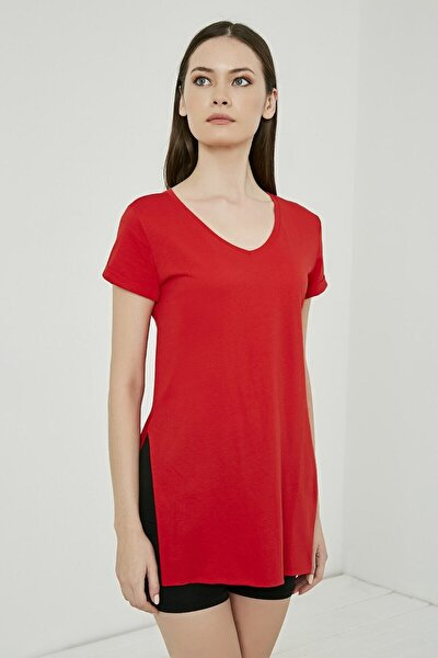 Kadın Giyim Yanları Yırtmaçlı Kısa Kol Basic Tshirt