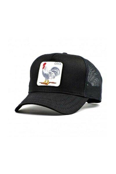 Unisex Siyah American Rooster Horoz Figürlü Şapka