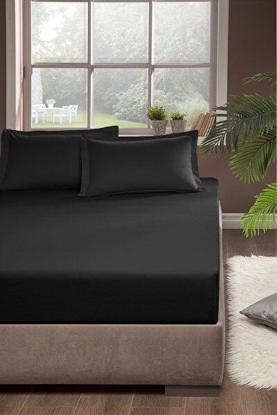Penye Lastikli Çarşaf Çift Kişilik 160x200 cm Siyah
