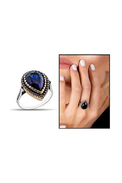 Kadın 925 Ayar Gümüş Zirkon Ve Mavi Ruby Taşlı Damla Tasarım Otantik Yüzük