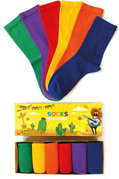 6'lı Pastel Renkler Çorap Özel Kutulu
