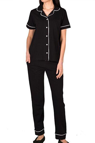 Siyah Kadın Pijama Takımı Kısa Kollu Düğmeli Cepli Pamuk