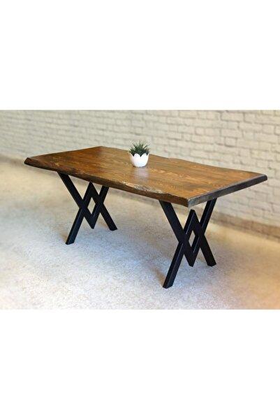 Belinay  Doğal Ağaç  Kütük Masa Yemek Masası ( Metal Ayak )