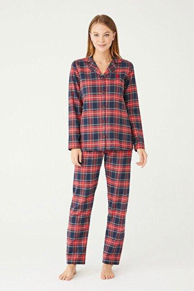 Kadın Kırmızı Boydan Patlı Pijama Takım