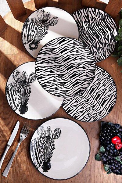 Siyah El Boyaması Zebra 6'lı Servis Tabak Seti
