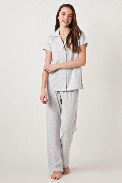 Kadın Gri Melanj Pijama Takım