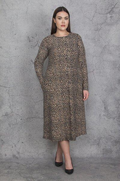 Kadın Leopar Uzun Kollu Yün  Viskon Elbise 65N22395