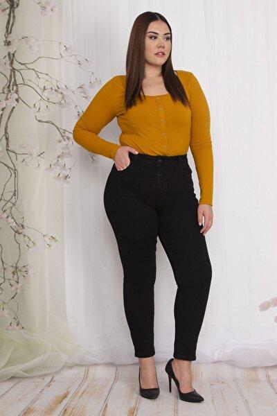 Kadın Siyah 5 Cepli Kot Pantolon 65N22556
