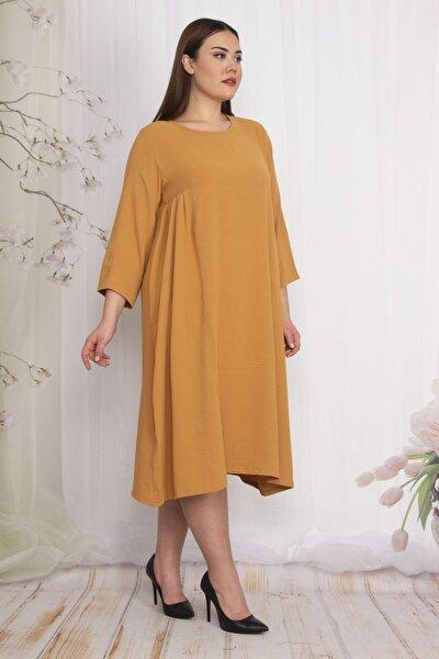 Kadın Hardal Yan Göğüs Pileli Kup Detaylı Elbise 65N22486