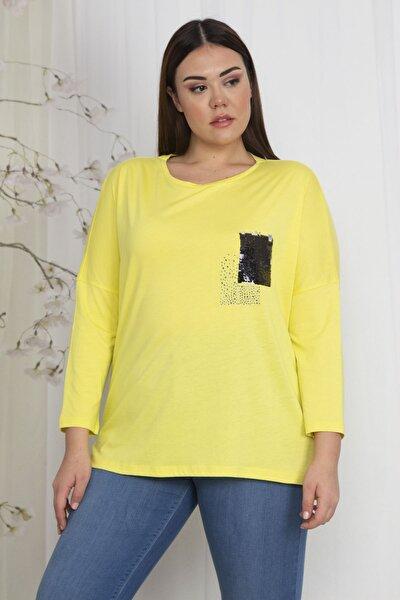 Kadın Sarı Düşük Kol Payet Detaylı Bluz 65N22515
