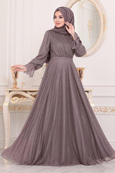 Kadın Mor Tesettürlü Abiye Elbise 22202klıla