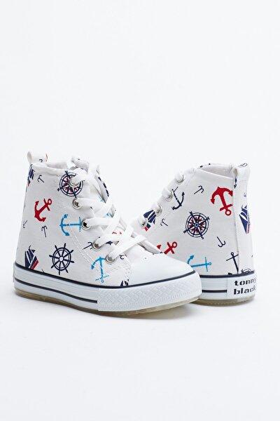 Beyaz Lacivert Çocuk Spor Ayakkabı Uzun Tb999