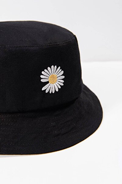 Kadın Siyah Papatya Işlemeli Bucket Şapka Şpk1035 - F1 Adx-0000022885