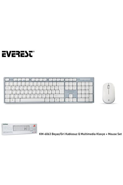 Km-6063 Beyaz/gri Kablosuz Q Multimedia Klavye + Mouse Set
