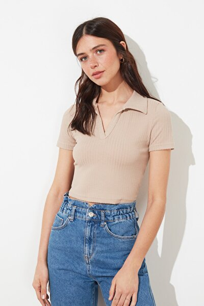 Taş Polo Yaka Crop Örme Bluz TWOSS21BZ0038