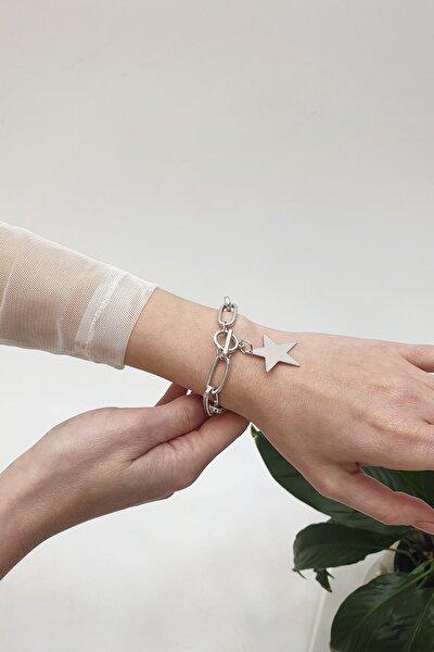 Kadın Yıldız Figürlü Gümüş Renkli Zincir Bileklikgümüş