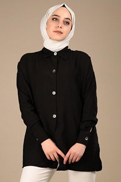 Kadın Siyah Metal Düğme Basıc Gömlek