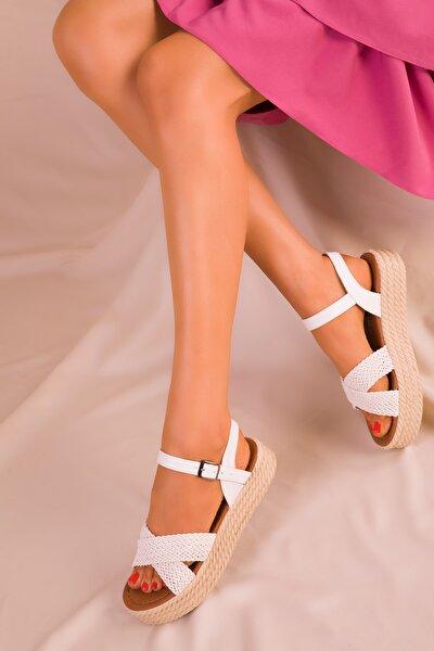 Beyaz Kadın Sandalet 14952