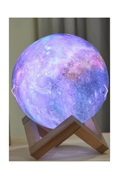 Dekoratif 3d Standlı 6 Renk Değiştiren Galaksi Gezegen Gece Lamba Ay-gezegen