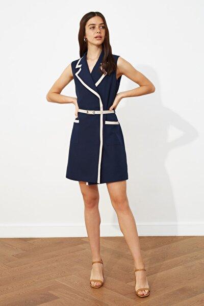 Lacivert Kemerli Ceket Elbise TWOSS20EL2493