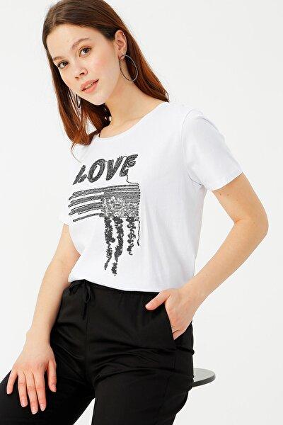 Kadın Beyaz Tişört 504393898 Boyner
