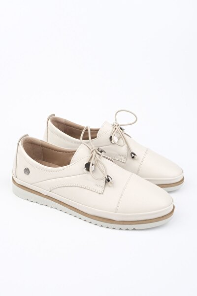 Kadın Krem Hakiki Deri Comfort Ayakkabı Demas
