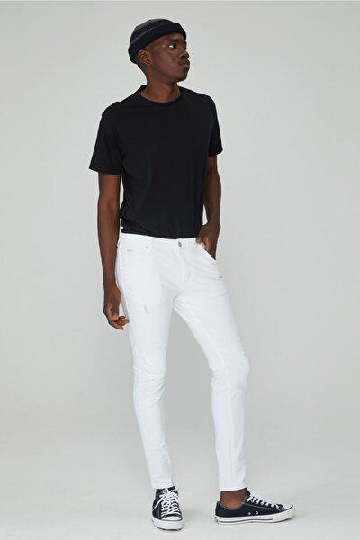 Erkek Beyaz Skinny Fit Yırtık Kot Pantolon