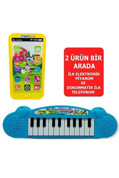Türkçe Müzikli Hayvan Sesli Dokunmatik Telefon Sarı Ve Piyano 22 Tuşlu Sesli Ilk Elektronik Piyano