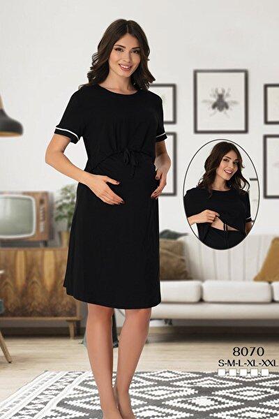 Emzirme Özellikli Siyah Hamile Elbise 8070