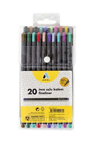 Fineliner 0.4mm Kalem 20 Renk Karışık