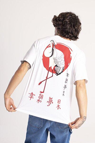 Beyaz Önü & Arkası Baskılı Oversize T-Shirt 1KXE1-44663-01